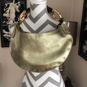 🎉 Gucci Bamboo Gold Metallic Shoulder Bag